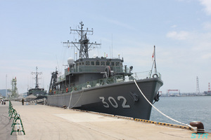 林田港で自衛隊艦艇を見る