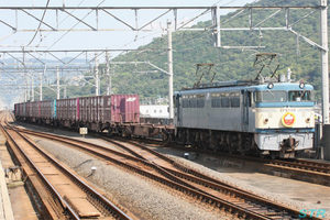 「第16回JR貨物フェスティバル」告知ヘッドマーク付き貨物列車