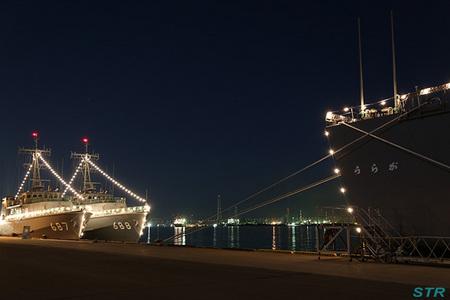 掃海母艦うらがと掃海艇3隻の電灯艦飾を見てきた
